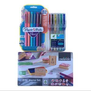 💕3/$20 NWOT Art supplies stamp kit glitter pens